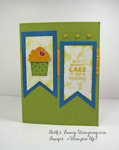 Cupcake Party, Pear Pizazz, Lost Lagoon and So Saffron Birthday Card